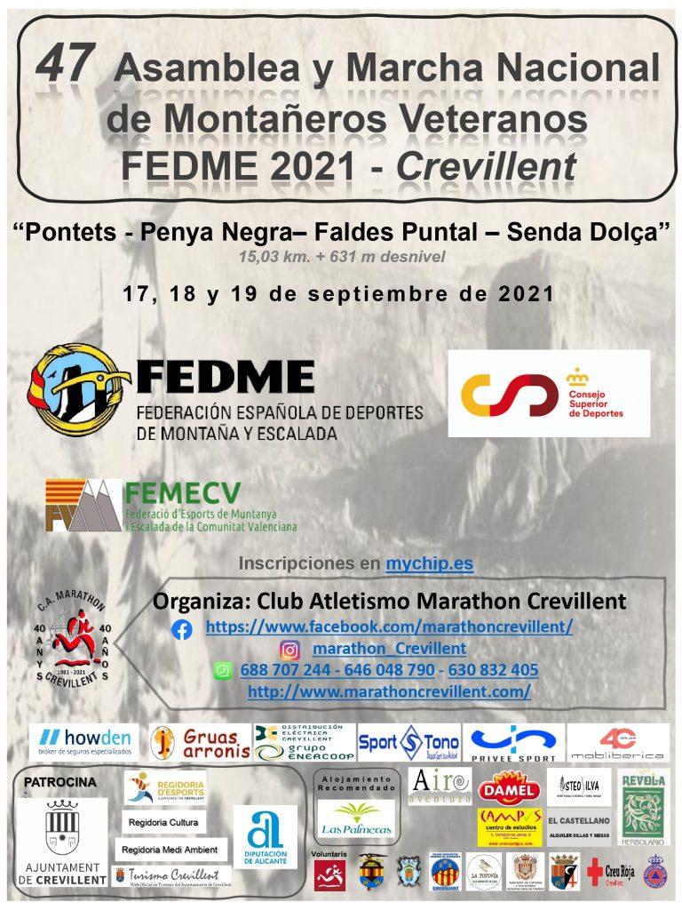 Cartel 47 Asamblea y Marcha Nacional de Montañeros Veteranos FEDME 2021 - Crevillent